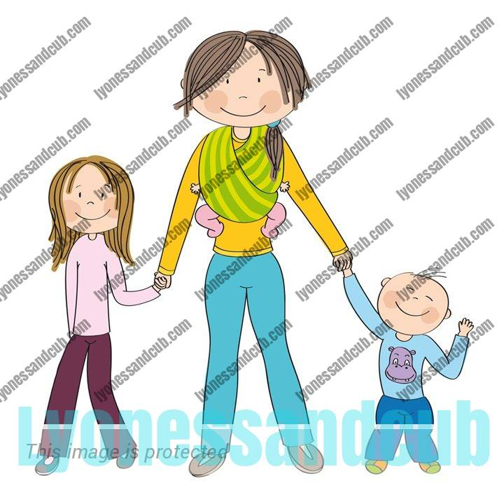 Young mom with kid, toddler, and baby, all smiling