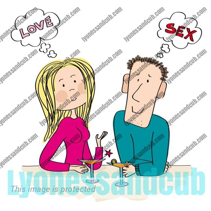 Young lady and guy in a bar; she wants love, he wants only sex