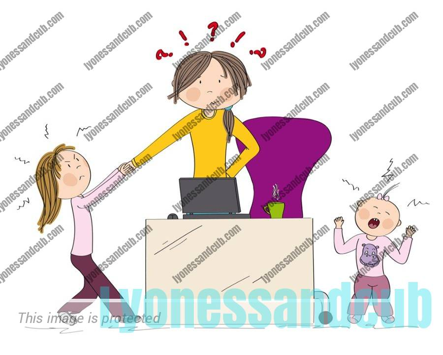 nervous wreck mom at laptop, trying to work, while kid and toddler scream