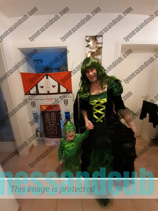 toddler boy and mommy as PJ Masks gecko and witch