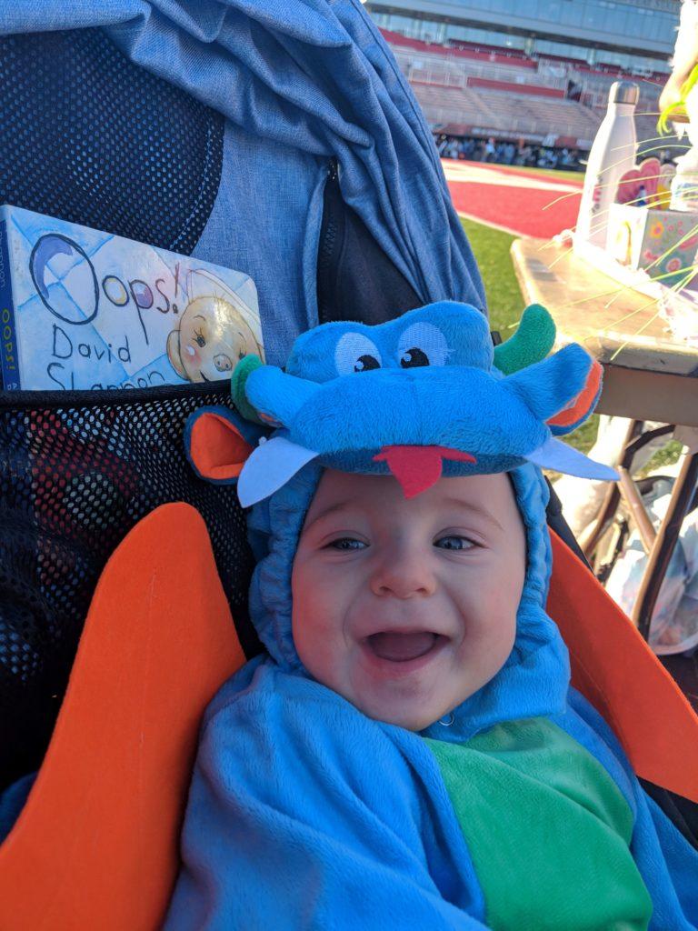 baby in cute Dinky Dragon Halloween costume